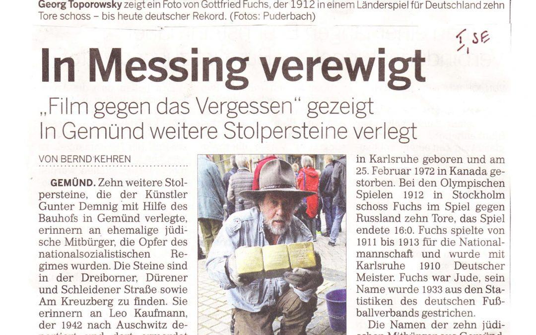 Stolpersteinverlegung am 17. Juni 2016 in Gemünd